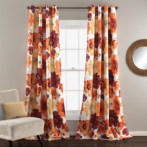 Lush Decor Room Darkening Window Curtain Panel Pair Leah Floral Insulated Gromme