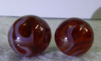 #11365m Pair of Colored Glass Champion Agate Furnace Marbles .58 .63 inches