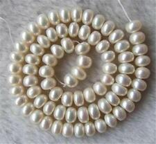 NEW AAA+ White Freshwater Pearl Roundel Loose Beads 7X8mm 15""