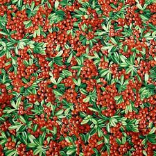 Red Berries & Green Leaves Quilting Cotton Fabric Per FQ by FabrQquilt
