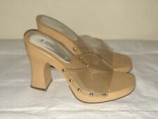 Vintage Soda Clear Platform Chunky Heel Demi Slide open Toe Sandals 7 M