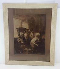 BLACKSMITH WITH HORSE DONKEY & DOG AW ELSON & CO CARBON PRINT PHOTOGRAPH FRAMED