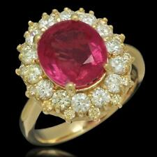 Certified Burmesse Ruby 4.25cttw and 1.55cttw Diamond 14KT Ladies Ring