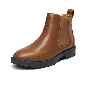 Womens Slip On Chelsea Ankle Boots Leather Chukka Dress Desert Boots Allsize