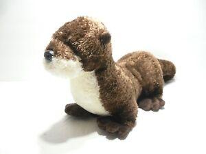 "Aurora Otter Plush 7"" (excluding tail) Brown & White Stuffed Animal / 11"" Total"