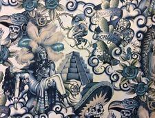 AH131 Contigo Aztec Mexico Guadalupe Muertos Skull Skeleton Cotton Quilt Fabric