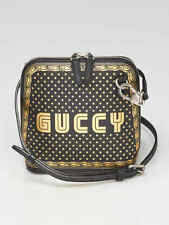 Gucci Black/Gold Leather GUCCY Mini Crossbody Bag