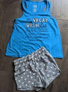 Justice Too Circo Shorts Size 10-12 Turquoise Gray White Polkadot