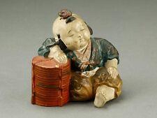 Chinese Antique Pottery child Statue / 中国美術 唐子色絵置物 / W 12× D 10× H 11.5 [ cm ]
