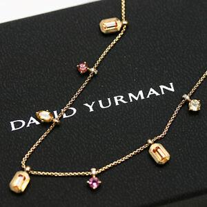 "DAVID YURMAN NEW 18K Yellow Gold Novella Dangle Necklace Mixed Stones 16-17"" Adj"