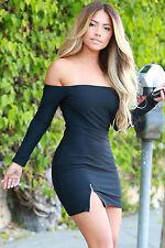 Mini Abito Zip aperto nudo aderente Zipped Slit Black Mini Skin Dress clubwear