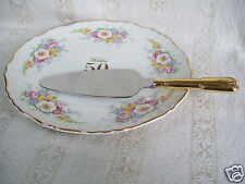 James Kent Old Foley Bridalane Tart 50th Anniversary Plate Cake & Server England