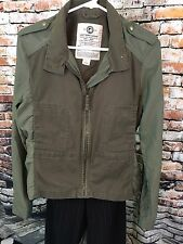 Lucky Brand Women's Army Green Jacket Size Large Utility Nylon Sleeves