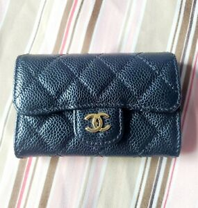 Chanel Caviar quilted flap card cash black wallet CC Gold Authentic NO RESERVE