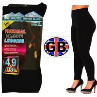 LADIES WOMEN THERMAL LEGGINGS FLEECE LINED WINTER THICK BLACK 4.9 TOG S-XL