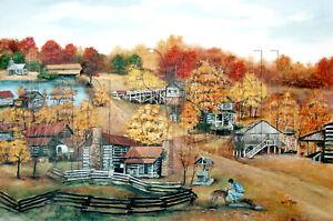 Hart Square NC Landscape Deer Autumn Log Cabin America Folk Art Print Arie Taylo