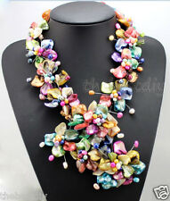 handmade Colorful Natural  Shell  pearl  flower necklace Wedding Woman Jewelry