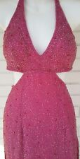 Vintage Scala Hot Pink detailed Beaded Gown 100% Silk size Small
