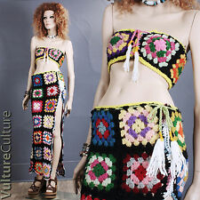 RARE Vintage 70s Boho Hippie Skirt + Top Crochet Granny Square Afghan Maxi S/M