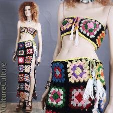 Vintage 70s Boho Hippie Skirt + Top Crochet Granny Square Afghan Maxi S/M