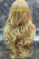 Hand Tied Lace Front Full Wig Long Wavy Caramel Blonde Mix Hair Piece T27.613