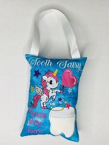 Tooth Fairy Pillow Birthday Gift Keepsake Tooth Pocket Cushion Unicorn