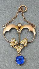 Vintage Blue Garnet & Seed Pearl Womens Pendant 9ct Rose Gold Fine Jewelry