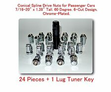 "24 Pcs Conical 6 Spline Drive Nut For Passenger Cars 7/16-20 x 1.38"" w/Tuner Key"