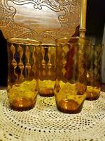Set of 4 Vintage Libbey Swirl Ripple Pattern Amber  Drinking Glasses Tumblers