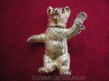 "Broche ""Teddy Bear"" N° 1 Ours Roosevelt Chasse - Bijoux Vintage Butler & Wilson"