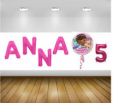 PERSONALISED Girls BIRTHDAY BALLOON Banner Wall Display Any Name Age +Characters