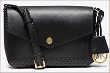 0b183abe2f08b5 MICHAEL KORS Greenwich Small Flap Saffiano Leather Crossbody Black $208