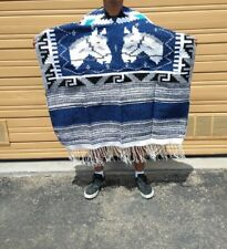 """WESTERN PONCHO ,HAND WOVEN , MEXICAN , GABAN , ONE SIZE FITS ALL , 43"""" X 40"""", #6"""