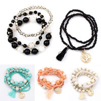 6Pcs Multilayer Natural Stone Crystal Bangle Beaded Bracelet Women Charm Jewelry