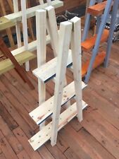 New Small Raw Vintage Wooden Ladder Shelf for home or Shop Display Book or Plant