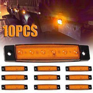 10x Orange Amber 12v 6 Led Side Marker Indicators Lights Truck Trailer Bus UK