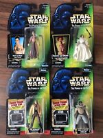 Lot Of 4~STAR WARS POWER OF THE FORCE~GREEN CARD ACTION FIGURES~Leia~Lando~Luke