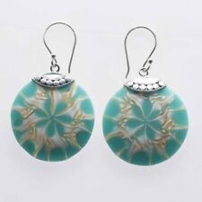 Earring Round 26 mm. Color Turquoise, White, Tan Mix Shells
