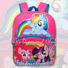 "My Little Pony Girls' Fabulous Friends 16"" Large School Book Backpack Canvas Bag"