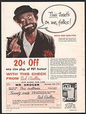 1959 RED SKELTON as Freddie the Freeloader Pet Dry Milk PRINT AD w/old coupon