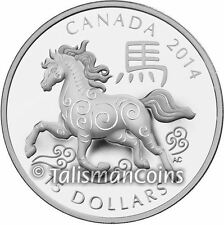 Canada 2014 Year of Horse Chinese Lunar Zodiac $15 Round Pure Silver Proof