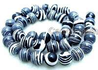 10mm Round Zebra Stripe Black Agate Beads for Jewelry Making Loose Strands 15""