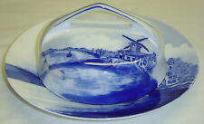 Antique Rosenthal Delft Germany Porcelain Butter Dish Plate Painted Blue Boats