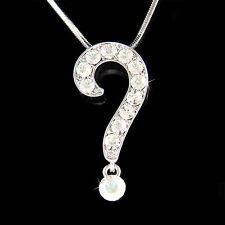 Celebrity Bling w Swarovski Crystal ~QUESTION MARK~ Charm Pendant Necklace New
