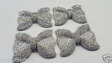 2pcs Metallic Silver 54mm Large Flat Back Chunky Rhinestone Bows Cabochons C13