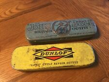 TWO VINTAGE CYCLE REPAIR KIT TINS JOHN BULL and DUNLOP some contents In one