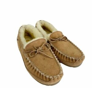 L.L.bean Unisex Wicked Good Camp Moccasin Slippers Brown Sherpa Lined M 9 W 10