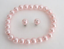 Stud Earrings Wedding Gift Pink Pearl Stretchable bracelet with