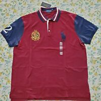 New Mens Polo Ralph Lauren Slim Fit Big Pony Polo Shirt Red/ Multi L & XL