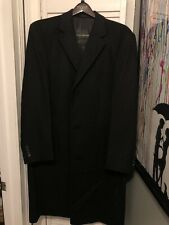 Geoffrey Beene Pea Coat Men 44L Black Wool Button Long Dress Jacket Warm Winter
